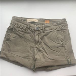 Army green size 25 Anthropologie shorts.